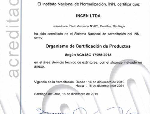 INCEN: Certificadora Acreditada ante INN en materia de servicios técnicos de extintores