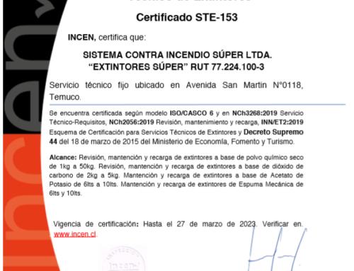 ¡Estamos certificados bajo decreto supremo 44, hasta el 2023